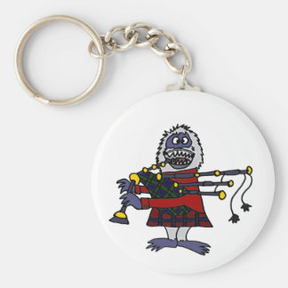 Funny Abominable Snowman Playing the Bagpipes Keychain