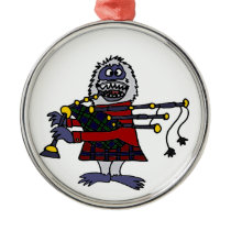 Funny Abominable Snowman Playing the Bagpipes Metal Ornament