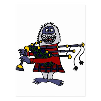Funny Abominable Snowman Playing the Bagpipes Postcard