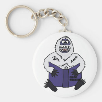 Funny Abominable Snowman Reading Global Warming Keychain