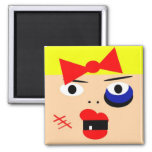 Funny abstract female boxing magnet magnet