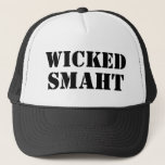 "Funny Accent Yankee | Wicked Smart Smaht Bostonian Trucker Hat<br><div class=""desc"">Funny Yankee trucker hat reads Wicked Smaht Smart with a Boston accent...  Or New Jersey,  or New York,  or Maine,  or Rhode Island,  but mostly funny New England Bostonian accent. If you are Wicked Smart and from the Northeast,  this is your hat. Great gag gift idea.</div>"