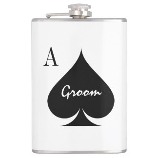 Funny Ace of spades wedding flask for groom
