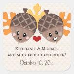 Funny Acorn Couple Favor Square Stickers