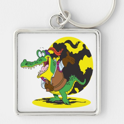 funny actor acting alligator cartoon character key chains
