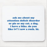 Funny ADD ADHD Quote - Blue Print Mouse Pad