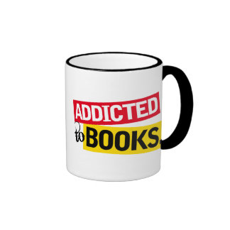 Funny Addicted To Books Reading Gift Ringer Mug