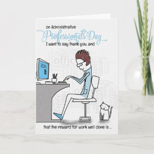 Funny Administrative Professionals Day Office Work Holiday Card