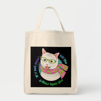 Funny Adorable Hipster Doofus Cat Shopping Bag