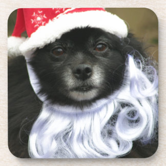 Funny & Adorable Santa Claus Dog With Beard Beverage Coasters