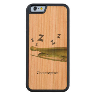 Funny Adorable Whimsical Lizard Handmade Custom Carved Cherry iPhone 6 Bumper Case