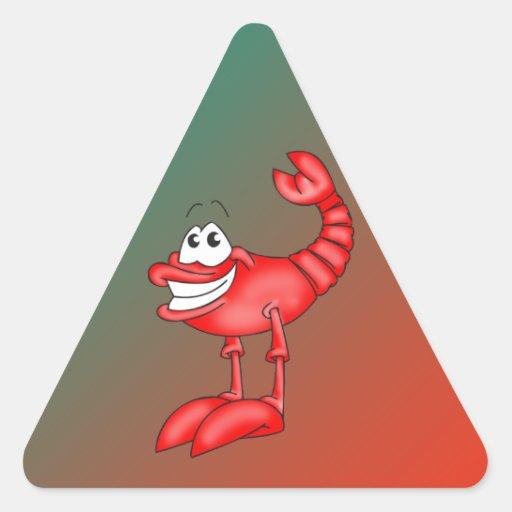 Funny Aerobatic Lobster Triangle Sticker