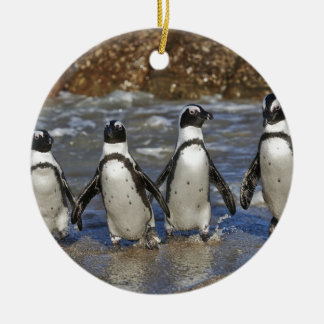 funny African Penguins, Cape Town Double-Sided Ceramic Round Christmas Ornament