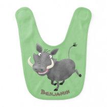Funny african warthog pig cartoon illustration baby bib