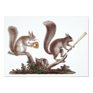 """Funny After Game BBQ Rally Squirrels Invitations 5"""" X 7"""" Invitation Card"""