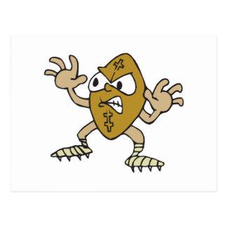 funny aggressive mean football cartoon character postcard