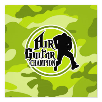 Funny Air Guitar bright green camo camouflage Personalized Invitations