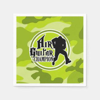 Funny Air Guitar; bright green camo, camouflage Paper Napkin