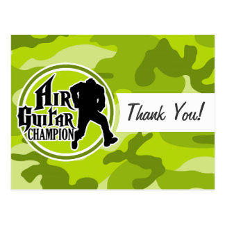 Funny Air Guitar; bright green camo, camouflage Postcard