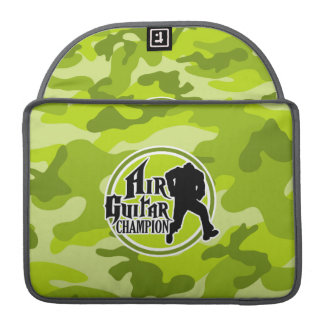 Funny Air Guitar; bright green camo, camouflage Sleeve For MacBooks