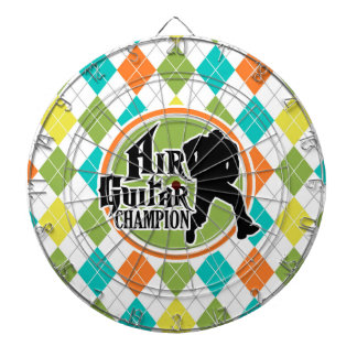 Funny Air Guitar on Colorful Argyle Pattern Dartboard With Darts