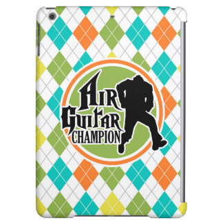 Funny Air Guitar on Colorful Argyle Pattern Cover For iPad Air