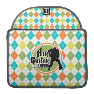 Funny Air Guitar on Colorful Argyle Pattern Sleeve For MacBooks
