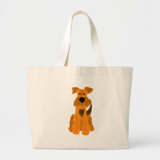 Funny Airedale Terrier Dog Art Jumbo Tote Bag
