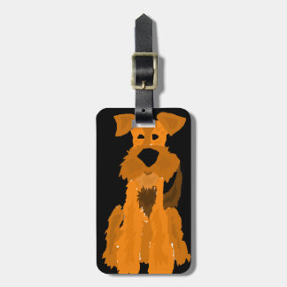 Funny Airedale Terrier Dog Art Bag Tag