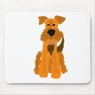 Funny Airedale Terrier Dog Art Mouse Pad