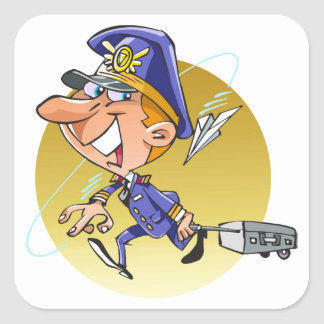 Funny airline PILOT cartoon personalized Square Sticker