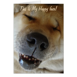 funny akita dog photo with cute smiley face card