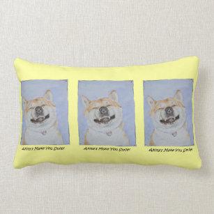 funny akita dog smiling watercolor design lemon lumbar pillow