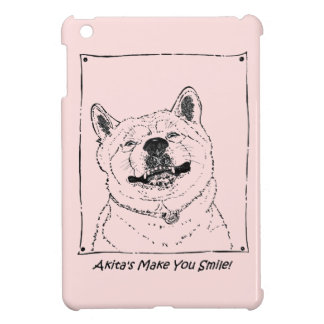 funny akita dogs smiling picture realist art iPad mini cases