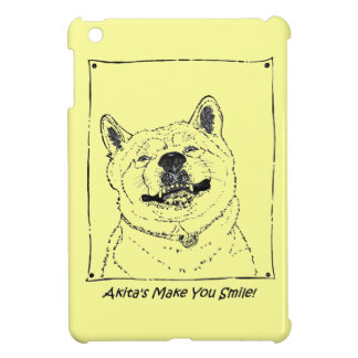 funny akita dogs smiling picture realist art iPad mini covers