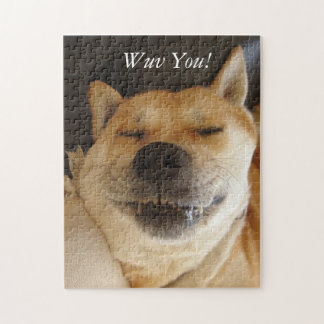 funny akita japanese type with cute smile photo puzzles