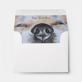 funny akita smiling dog picture realist art design envelope