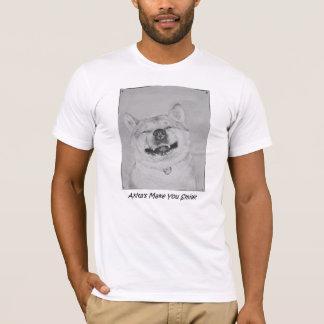 funny akita smiling realist dog drawing art design T-Shirt