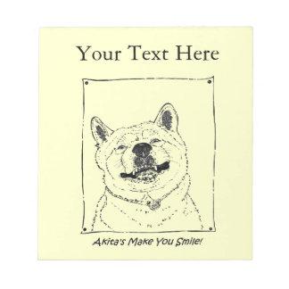 funny akita smiling realist dog portrait art notepad