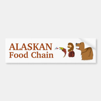 Funny Alaska Souvenir Food Chain Bear and Mosquito Bumper Sticker