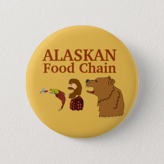 Funny Alaska Souvenir Food Chain Bear and Mosquito Pinback Button