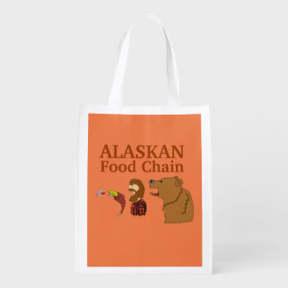 Funny Alaska Souvenir Food Chain Bear and Mosquito Reusable Grocery Bag