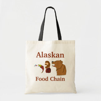 Funny Alaska Souvenir Food Chain Bear and Mosquito Tote Bag