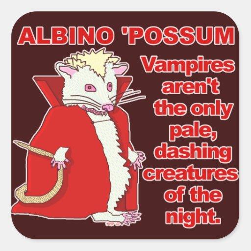 Funny Albino Possum Vampire Animal Square Sticker