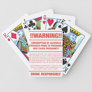 Funny alcohol and pregnancy warning bicycle playing cards