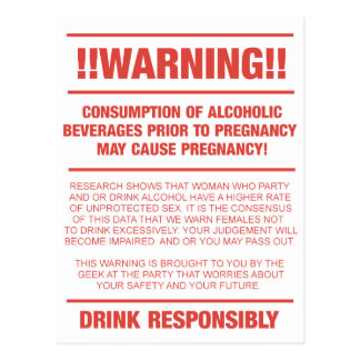 Funny alcohol and pregnancy warning postcard