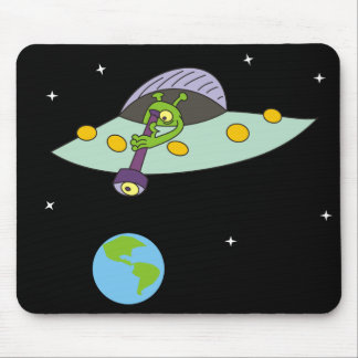 Funny Alien and Earth Cartoon Mousepad
