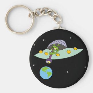 Funny Alien and Earth Keychain