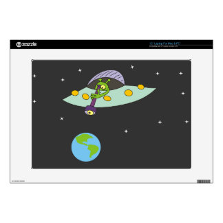 Funny Alien and Earth Laptop Skin