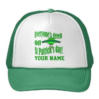 Funny alien cartoon St Patrick's Trucker Hats